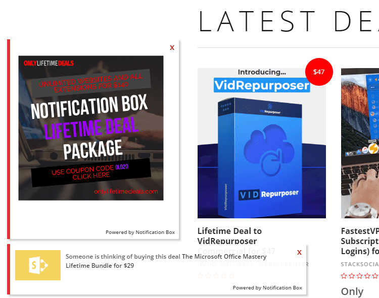 Only Lifetime Deals - Notifcation Box Custom Notifications