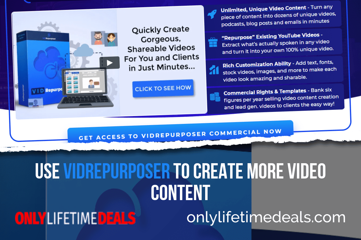 Only Lifetime Deals - USE VIDREPURPOSER TO CREATE MORE VIDEO CONTENT